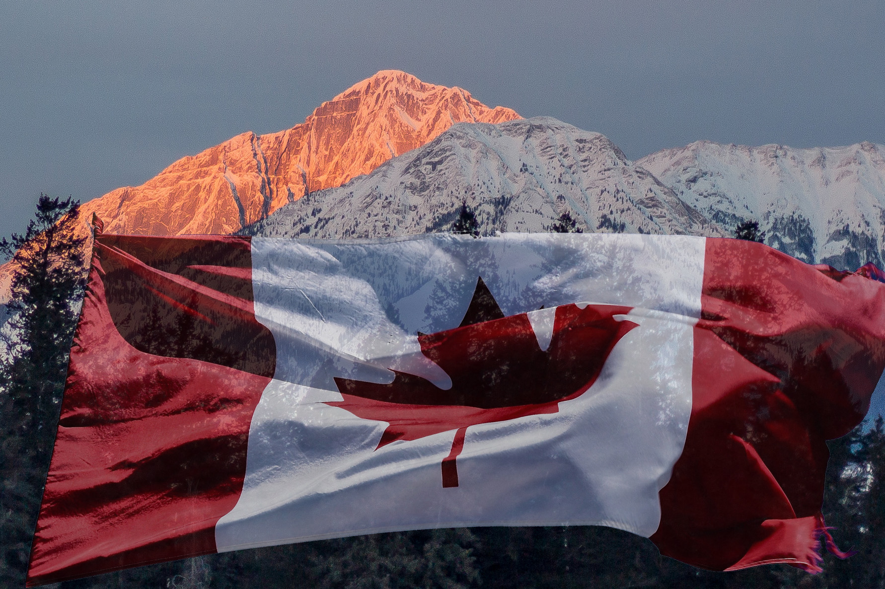 Canada Flag and Mountain Sunset